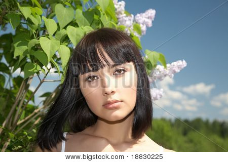 The Girl Against Lilac Bushes