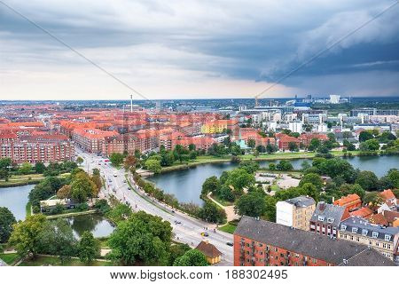 The Bird's Eye View From The Church Of Our Saviour On The Storm Over Copenhagen.