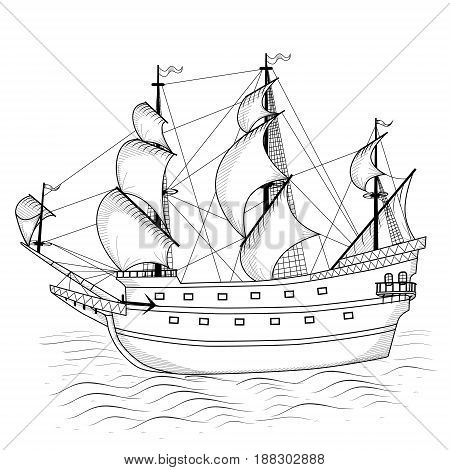 vintage ship with sails and reflection on a white background