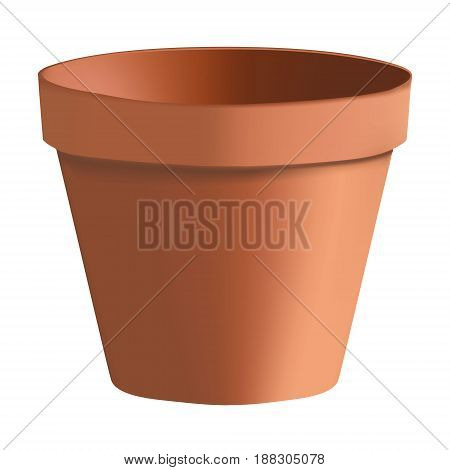 3D Photorealistic Clay Pot On A White Background. Flower Clay Pot. Pot For Plants