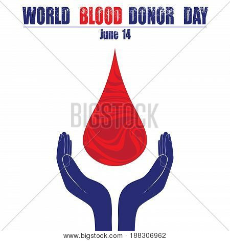Donate blood concept with abstract blood drop for World blood donor day June 14 vector illustration