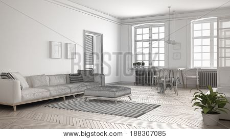 Unfinished project of minimalist living room sketch abstract interior design, 3d illustration