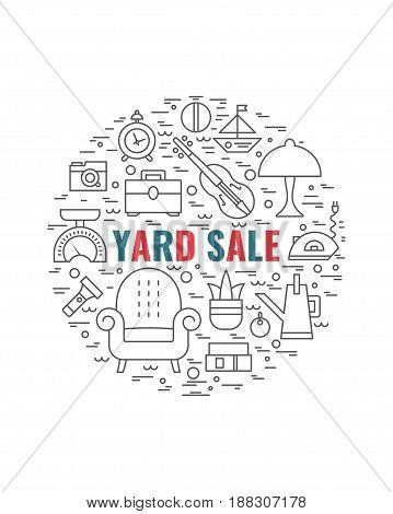 Vector line style illustration. Garage sale yard sale flyer template. Design element for posters banners advertisings.