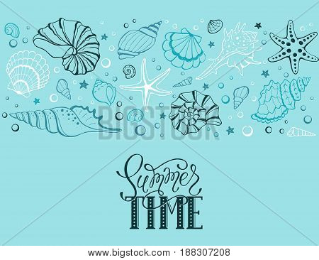 Summer time horizontal banner. Hand drawn sea shells and stars collection. Marine illustration of ocean shellfish. Seashells contour arranged in stripe on blue background.