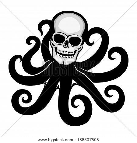 Skull with octopus tentacles on a white background.