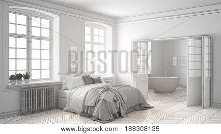 Unfinished project of minimalist white bedroom with bathroom in the background sketch abstract interior design, 3d illustration