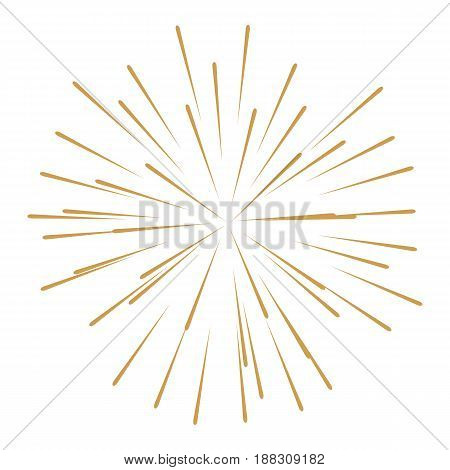 Firework celebration festival icon banner. Beautiful happy gold bright light holiday festive fire, vector illustration isolated design
