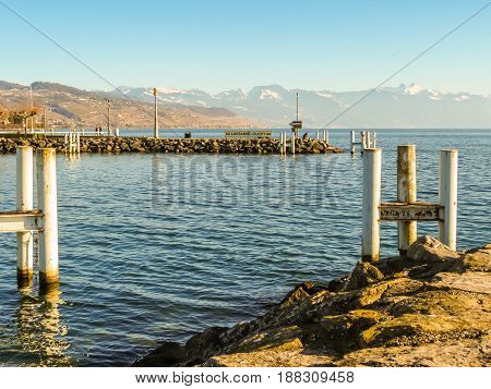 View of the Lake Geneva, Ouchy port, Lausanne, Switzerland