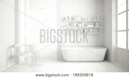 Total white classic vintage bathroom with tub minimalist interior design, 3d illustration