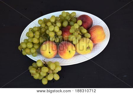 Fresh mixed fruits. Healthy eating, dieting. Summer food,