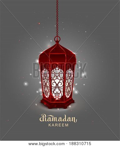 Ramadan Kareem lettering text template greeting card. Red Lamp riental ornament. Illustration in vector format