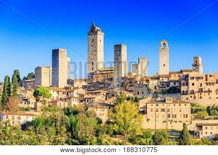 San Gimignano Tuscany Italy. The medieval town at sunrise.