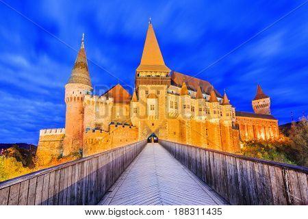 Hunyad Castle. Corvin's Castle in Hunedoara Romania.