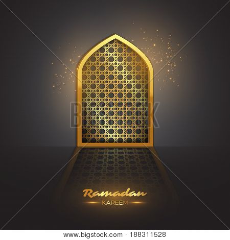 Ramadan Kareem background. Holiday islamic design golden mosque door with traditional ornament. Vector illustration.