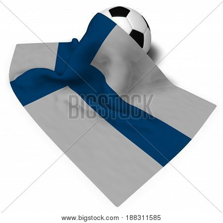 soccer ball and flag of finland - 3d rendering