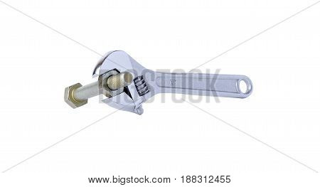 Spanner, Bolt And Nut On White Background