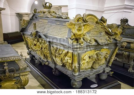 BERLIN GERMANY - APRIL 8: Hohenzollern Crypt in the Berlin Cathedral - collection of Prussian royals in the world on April 8 2017 in Berlin