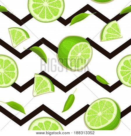 Ripe juicy tropical lime striped seamless background. Vector card illustration. Fresh citrus green lemon fruit, leaf on black zig zag lines. Seamless pattern for design healthy food diet juce, detox