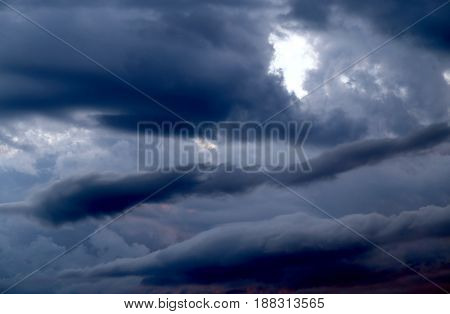 Beautiful dark storm clouds photographed in close-up
