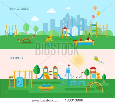 Two horizontal playground banners set with cartoon style flat images of playpark equipment trees and landscape vector illustration