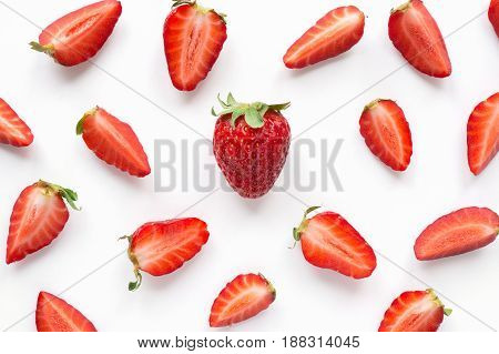 Strawberry sliced pattern. Creative food background. Top view
