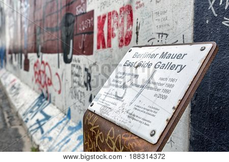 BERLIN GERMANY - APRIL 8: East side gallery is a sestion of Berlin wall on April 8 2017 in Berlin