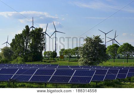 Production of alternative energy, solar panels and wind generators