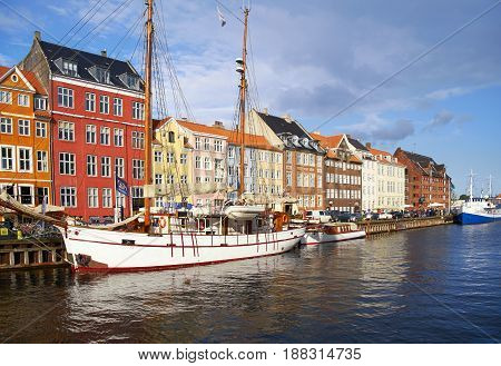 The Nyhavn Waterfront In Copenhagen.