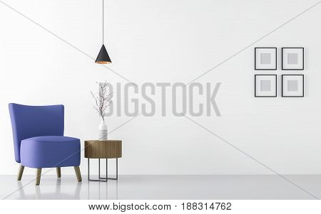 Modern white living room interior with blue armchair 3d rendering Image.There are minimalist style image white empty wall and blue furniture