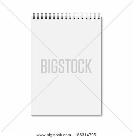 Vector realistic closed notebook. Vertical blank copybook with metallic silver spiral. Template (mock up) of organizer or diary isolated. A4