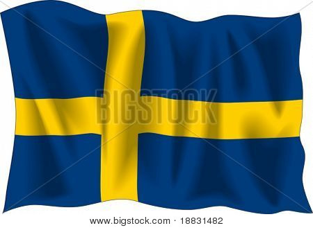 Waving flag of Sweden isolated on white