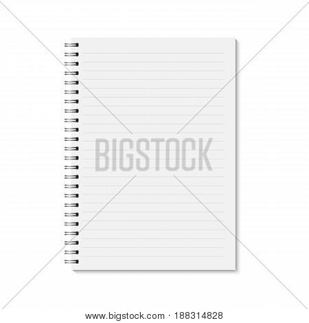 Vector realistic closed notebook. Vertical blank copybook with metallic silver spiral. Template (mock up) of organizer or diary isolated. Horizontal lined notebook. A4