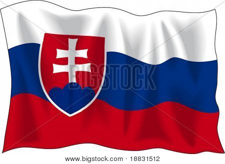 Waving flag of Slovakia isolated on white