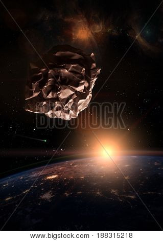 Garbage in space concept. Crumbled paper meteorite over the dark planet Earth at sunrise. A nebula appears in the distance and a comet is running in the space.