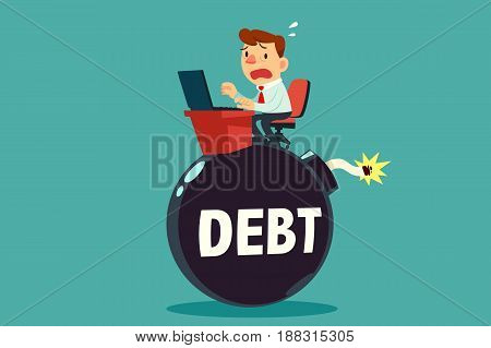 businessman working on top of debt time bomb. Debt and income concept.