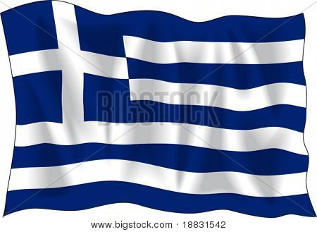 Waving flag of Greece isolated on white