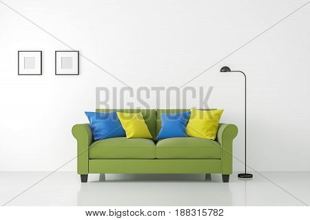 Modern white living room interior with colorful sofa 3d rendering Image.There are minimalist style image white empty wall and floor