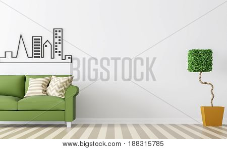 Modern white living room interior with green sofa 3d rendering Image.There are minimalist style image white empty wall and brown floor