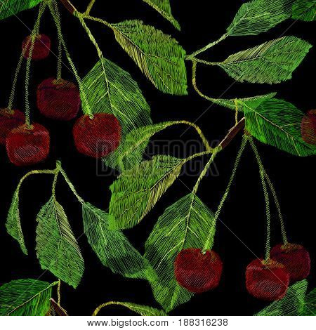 Vector illustration of Seamless pattern embroidery, needlework with a cherry berry with a green leaf. Necklace of traditional ornament decoration for fabric on black background.