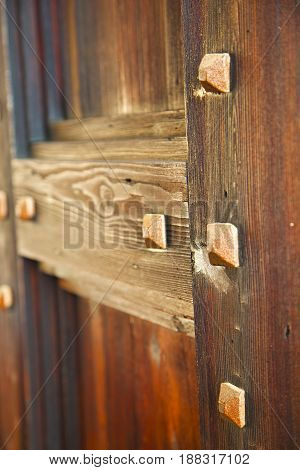 Abstract  House  Door     In Italy    Column   Old        Closed  Nail Rusty