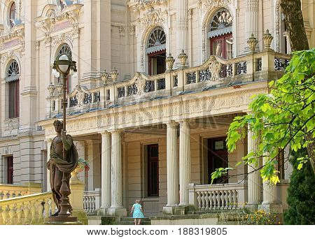 Israel Poznanski Palace. Lodz, Poland - May 20, 2017 Fragment of the baroque palace known industrialist Israel Poznanski in Lodz.