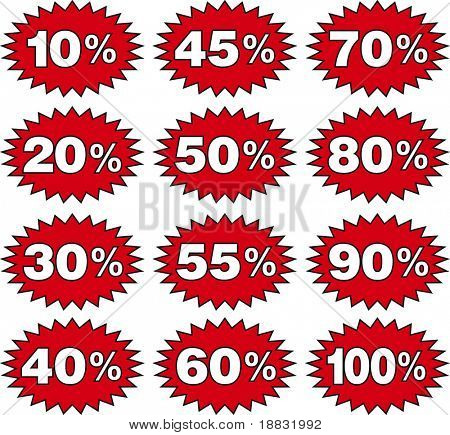 Discount labels templates with different percentages