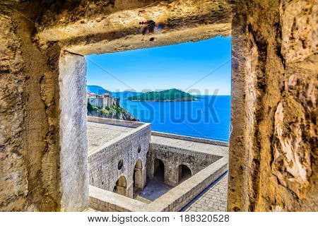 Aerial view from historic fort at Dubrovnik seascape in Croatia, european famous travel destinations.