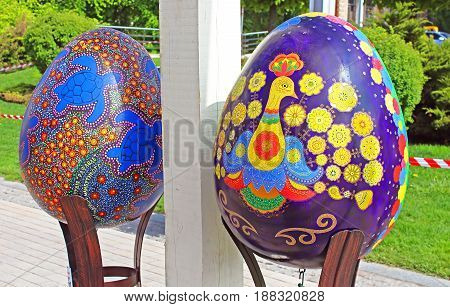 KYIV, UKRAINE - MAY 01, 2017: Painted eggs. Street festival of large Easter eggs on Sofievskaya Square