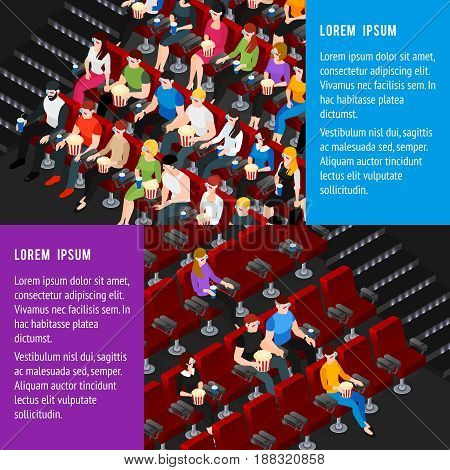 Cinema hall horizontal isometric banners set with men and women isolated vector illustration