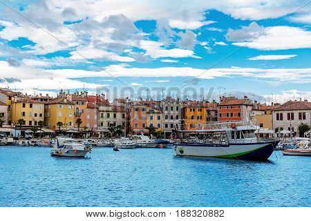 View of old city, harbor and fishing boats in Rovinj, Istrian peninsula, Croatia