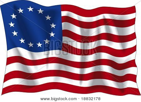 Betsy Ross flag, vector illustration