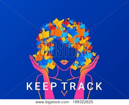 Keep track concept illustration of young woman addicted to social networks, likes and blogging. Modern gradient design of woman with hair full of thumb up symbols
