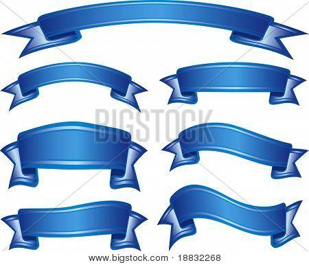 Set of blue ribbons
