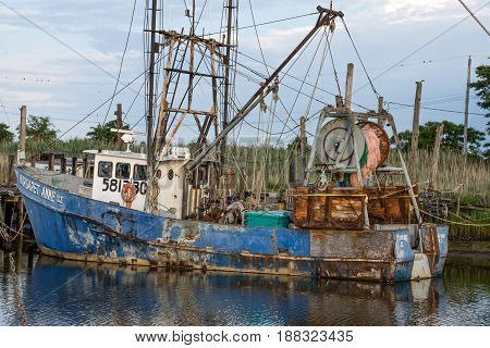 MIDDLETOWN NEW JERSEY- AUGUST 6 - An old fishing boat docked in the marina on August 6 2016 in Middletown NJ.